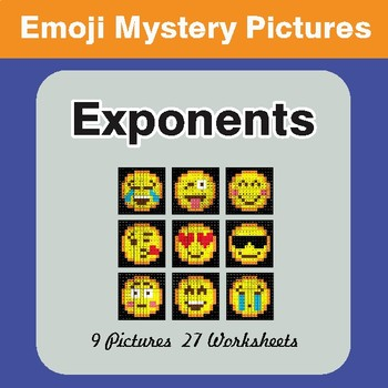 Exponents EMOJI Math Mystery Pictures