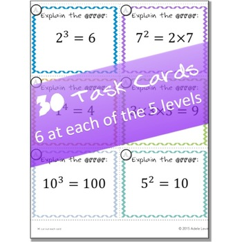 Exponents- EXPLAIN THE ERROR task cards
