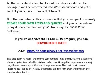 Exponents - ExamView Test Banks, Tests, Quiz, Worksheets, Answer Keys