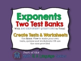 Exponents - ExamView Test Banks, Tests, Quiz, Worksheets,