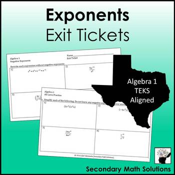 Exponents Exit Tickets (or Warm-ups)  (A11B)