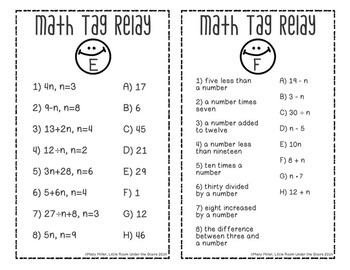 Exponents & Expressions Math Tag Relay {free}