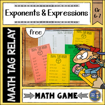 Exponents and Expressions Math Tag Relay {free}
