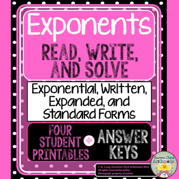 Exponents: Four Worksheets with Answer Keys!