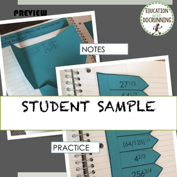 Exponents - Fractional Exponents (radicals) Interactive Notebook Organizers