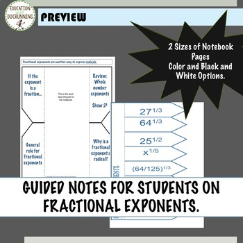 Fractional Exponents Interactive Notebook Organizers UPDATED