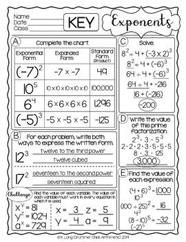 Exponents Freebie