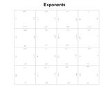Exponents Fun Square Puzzle