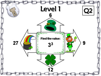 Exponents Game Escape Room St. Patrick's Day Math Activity 5th 6th 7th 8th Grade