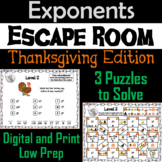 Exponents Game: Escape Room Thanksgiving Math Activity 5th 6th 7th 8th Grade