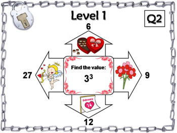 Exponents Game: Escape Room Valentine's Day Math Activity 5th 6th 7th 8th Grade