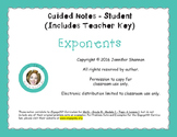 Exponents - Guided Notes (Two-Column)
