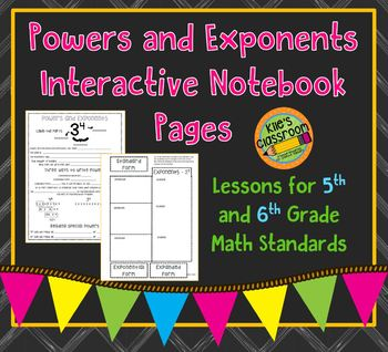 Exponents Interactive Notebook Page and Foldable