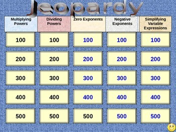 Exponents Jeopardy Review Game