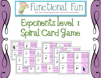 Exponents Level 1 Spiral Card Game