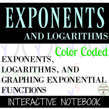 Graphing Exponential Functions Color Coded Interactive Notebook