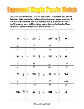 Exponents Magic Puzzle - Printable Fun Activity