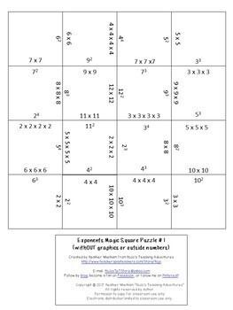 Exponents Math Center Game - NO PREP option!