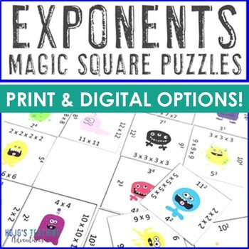 Exponents Math Center Game - NO PREP option! {FUN Exponents Puzzle}