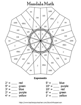 Exponents Mandala Math Color by Number