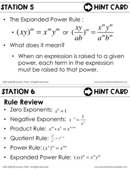 Rules of Exponents : Middle School Math Stations