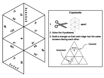 Exponents: Math Tarsia Puzzle