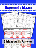 Exponents Mazes - 3 Worksheets - x / raise to power & nega
