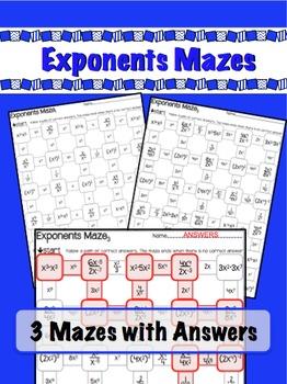 Exponents Mazes - 3 Worksheets - x / raise to power & nega