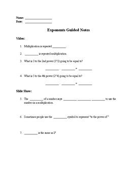 Exponents Mini Lesson - Guided Notes