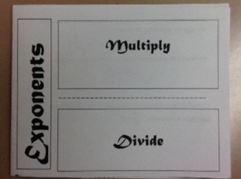 Exponents - Multiply and Divide Foldable