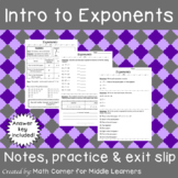 Exponents Notes, Practice & Exit Slip