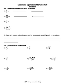 Exponents Operation Worksheet