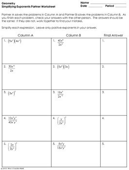 Exponents Partner Worksheet by Mrs E Teaches Math | TpT