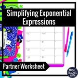 Exponents Partner Worksheet