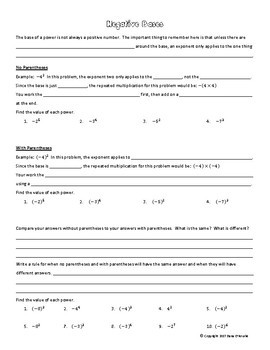 Exponents (Positive Only) Guided Notes & Assignment