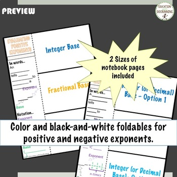 Positive and Negative Exponents Interactive Notebook Foldable