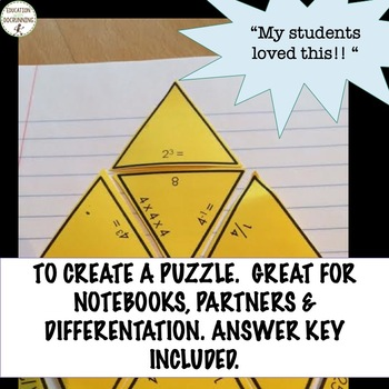 Positive and Negative Exponents Puzzle Activity