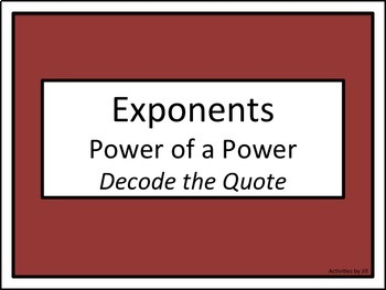 Exponents Power of a Power: Decode the Quote