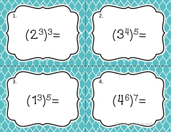 Exponents: Power of a Power, Product of a Power Task Cards