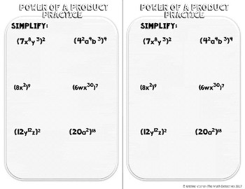 Exponents: Power of a Product - Doodle Note Brochure for Interactive Notebooks