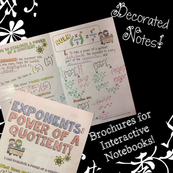 Exponents: Power of a Quotient - Doodle Notes Brochure for Interactive Notebooks
