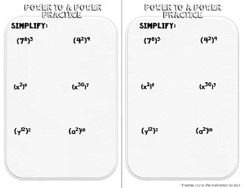 Exponents: Power to a Power - Doodle Note Brochure for Interactive Notebooks