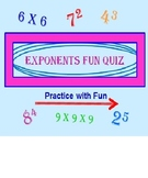 Exponents Powerpoint Fun Quiz (Revised and Self-Correcting)