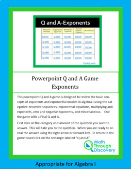Powerpoint Q and A Game - Exponents