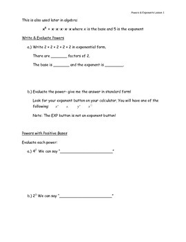 Exponents & Powers Notes Package Pre-Algebra