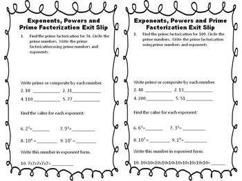 Exponents, Powers, & Prime Factorization Exit Slips FREEBIE
