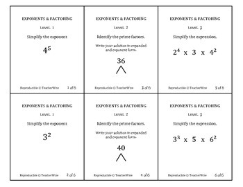 Exponents & Prime Factorization Task Cards with Homework Review Cards