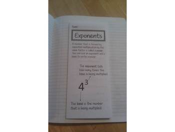 Exponents Print n' Fold (Foldable) Interactive Notebook