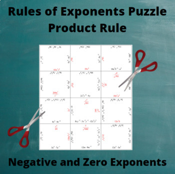 Exponents Puzzle : Product Rule with negative and zero exponents