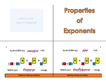 Exponents Properties Foldable
